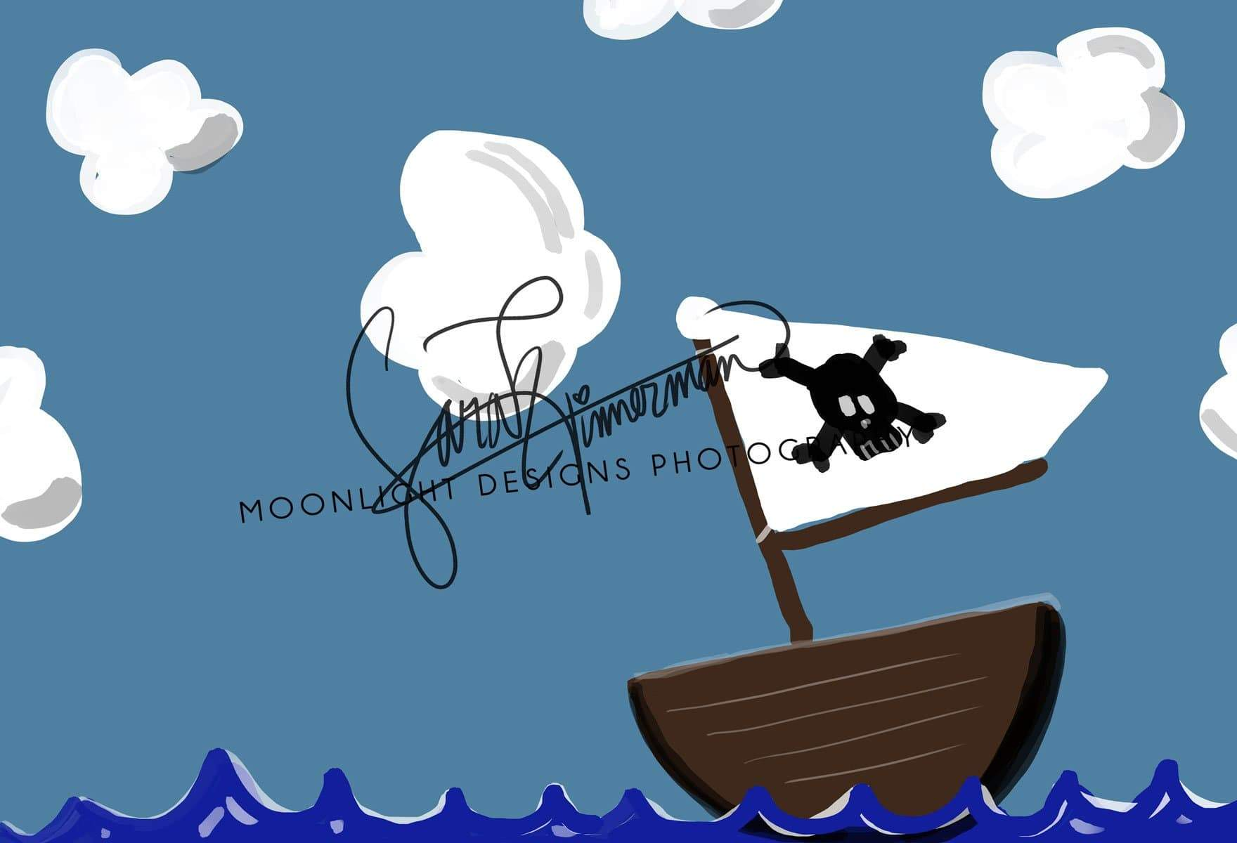Load image into Gallery viewer, Kate Pirate Sea and Clouds Children Backdrop for Photography Designed by Sarah Timmerman