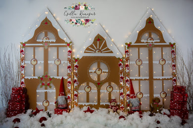 Kate Christmas Gingerbread House Backdrop Designed by Csilla Kancsar