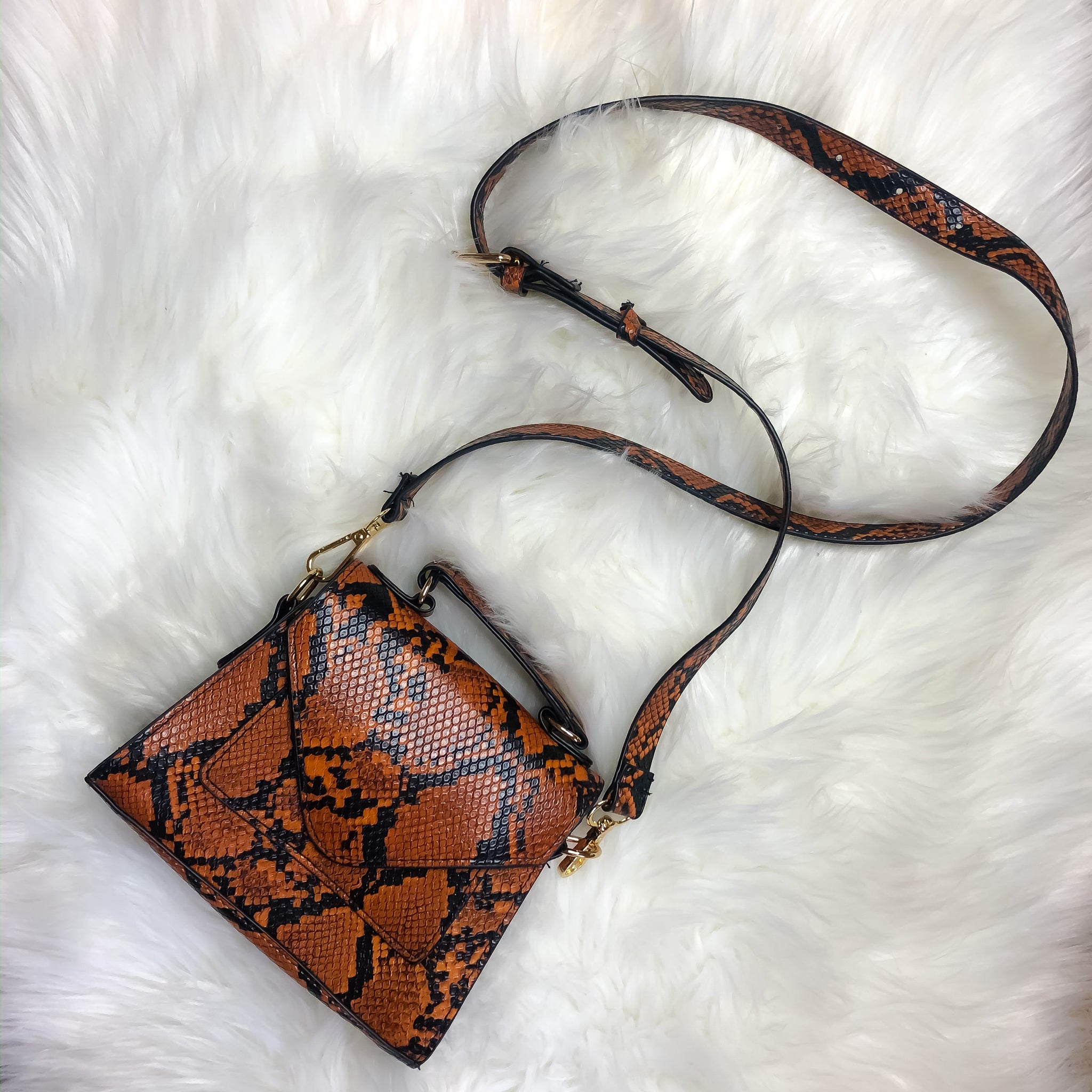 Brown Snake Print Purse