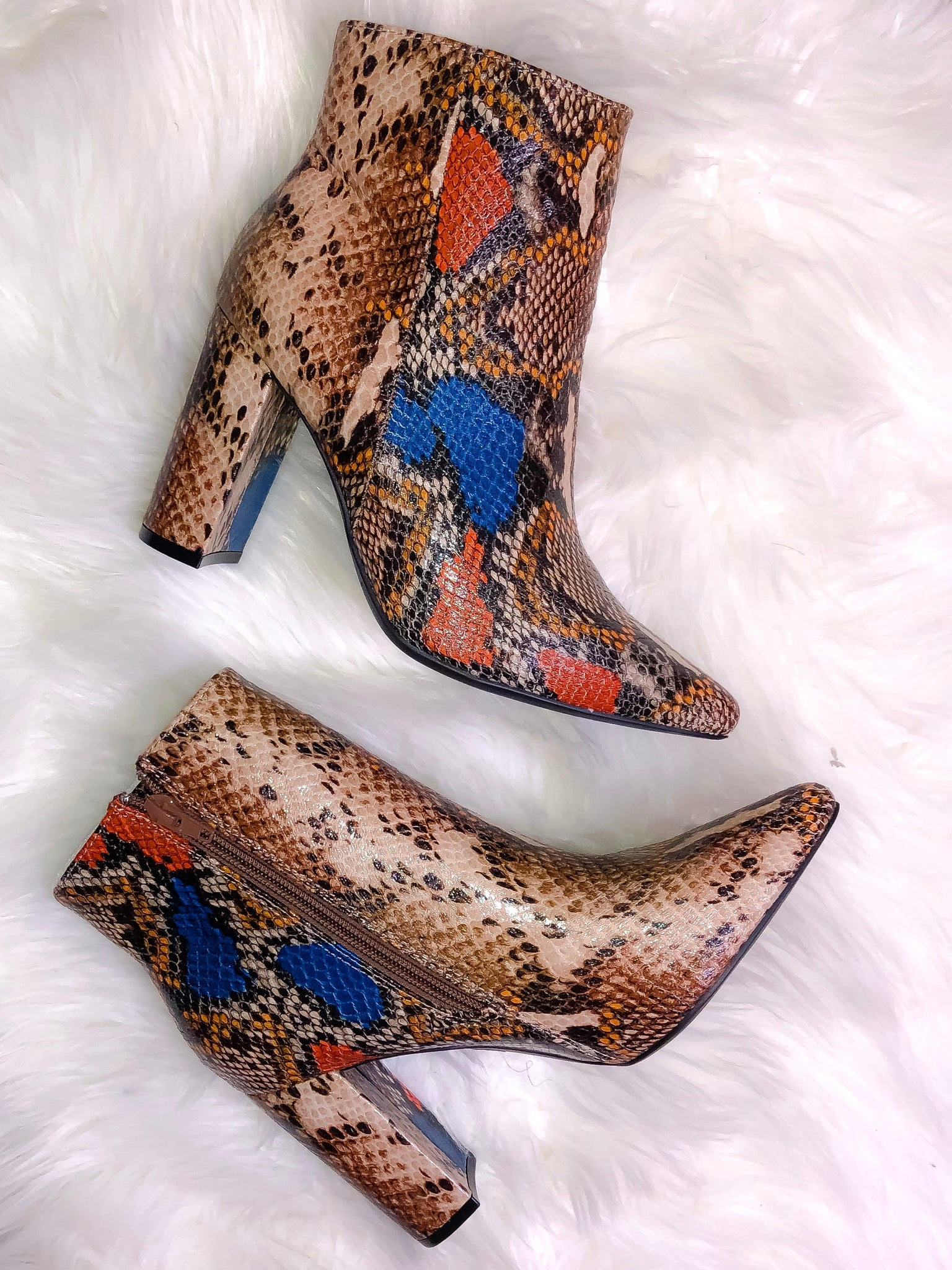 Hiss N' Tell Snake Print Booties
