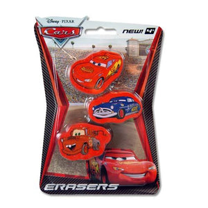 Cars Pencil Top Erasers 3-pack