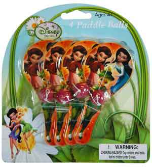 Tinker Bell Mini Paddle Balls 4-pack