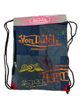 "VNDS01SR Von Dutch Drawstring Bag with Side Zipper 18"" x 14"" ( DENIM FABRIC )"