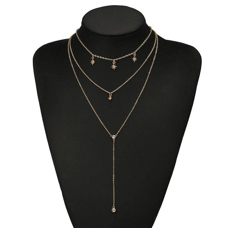 Star diamond clavicle chain simple three-layer necklace collar