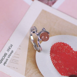 New cute cat ring with beads, cat head ring, men and women, adjustable opening, jewelry accessories