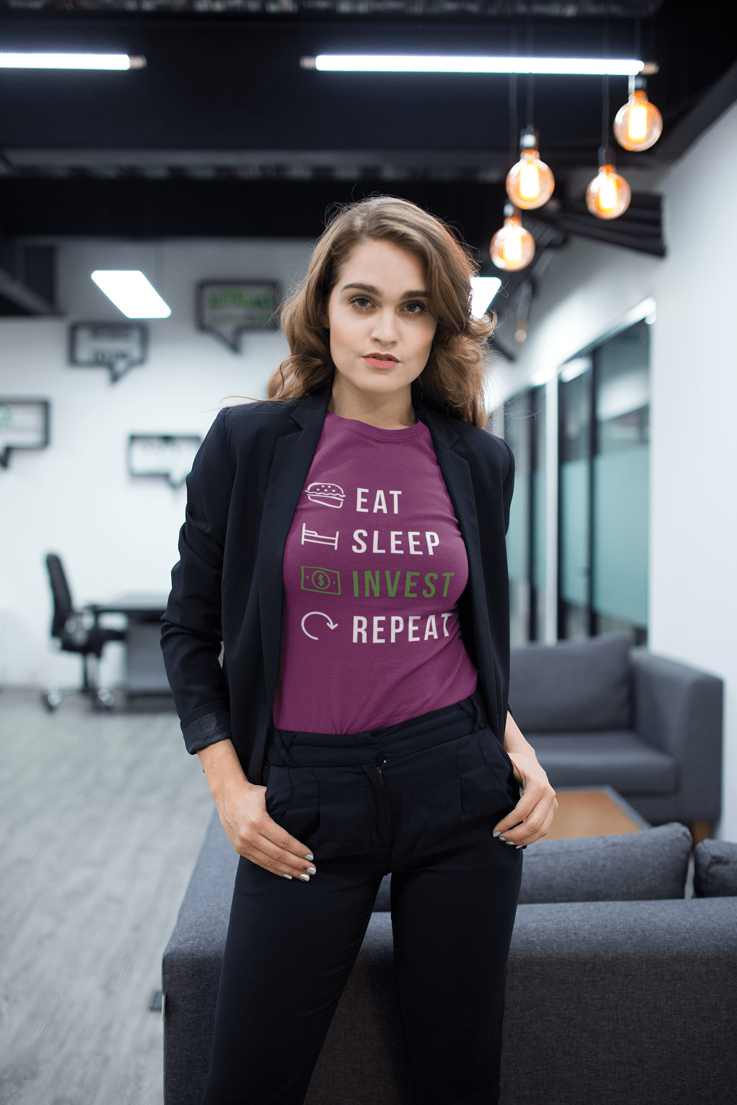 Eat Sleep Invest And Repeat Cotton T-shirt Trendy Zebra