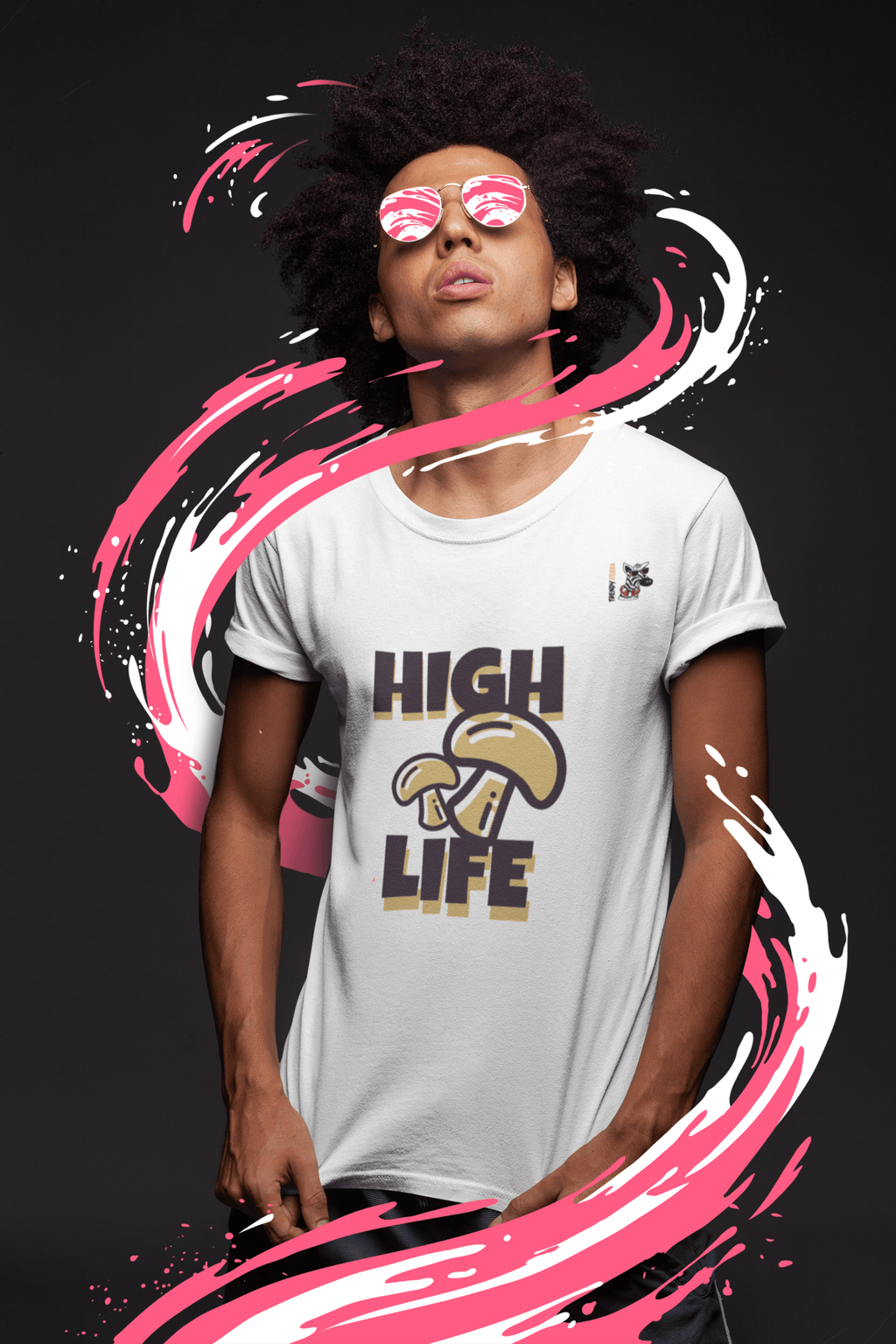 High Life Cozy Short-sleeve T-Shirt Trendy Zebra