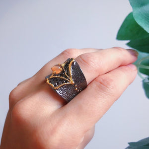 New Arrival Fissure Rings for Women Split On Top Black Gold Color with Light Brown CZ Stone Trendy Zebra
