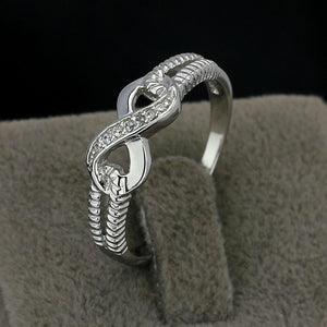 Personalized 925 Sterling Silver Eternity Ring Women Engraving Infinity Rings Wedding Promise Rings for Her Trendy Zebra