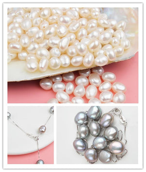 Real Pure 925 Sterling Silver Chain Pendant Necklace For Women 8-9mm White Gray Natural Freshwater Baroque Pearl Jewelry Trendy Zebra