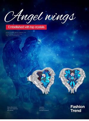 Stud Earrings Embellished with crystals Women Earrings - Angel Wing Heart Earrings Trendy Zebra