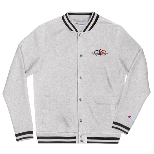 Infinity Dance Men's Embroidered Grey Champion Bomber Jacket - Infinity Dance Clothing
