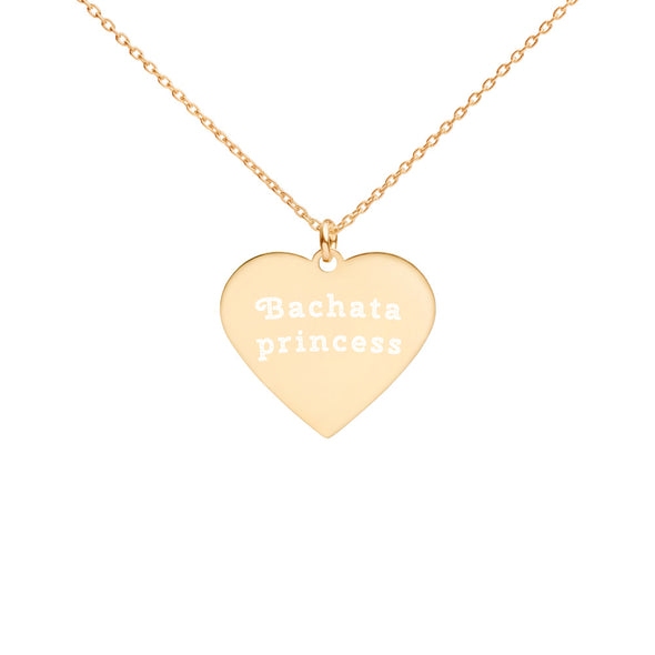 Bachata Princess Engraved Silver Heart Necklace