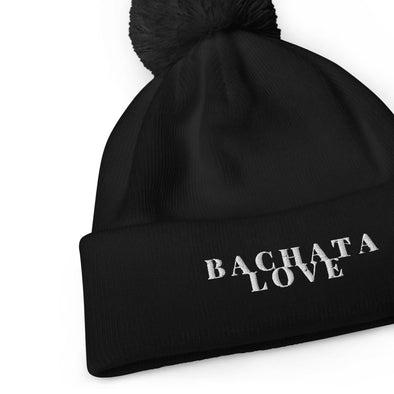 black bachata love beanie with a pom pom for valentine's day