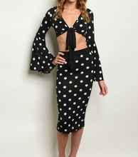 Load image into Gallery viewer, BLACK WHITE W/DOTS TOP & SKIRT