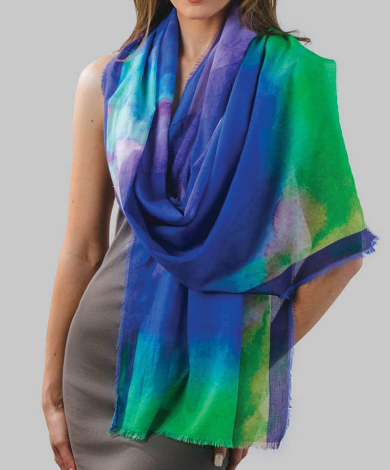 Watercolor Print Cotton Scarf
