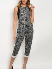 Load image into Gallery viewer, One of a kind-- GRAY WHITE LEOPARD PRINT OVERALL