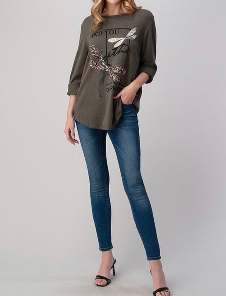 Long Sleeved Top with Sequins and Animal Print