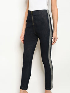 High waisted zipper closure skinny pants.