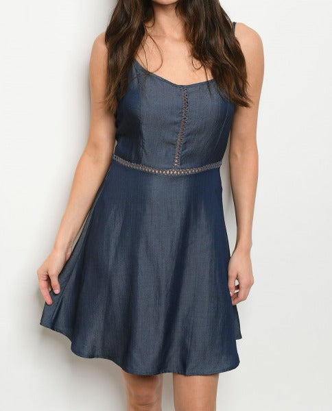 Sleeveless scoop neck denim chambray tunic dress.