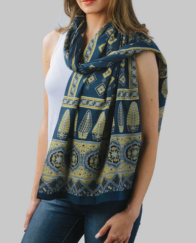 Cotton Handmade Block Print Scarf