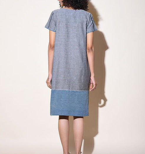Women Blue Cotton Dress with Top Stitch