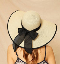 Load image into Gallery viewer, Hat -Big Bow Decor Contrast Trim Floppy Hat