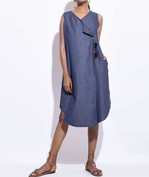 Women Blue Denim Hand Embroidered Wrap Dress