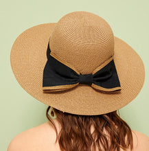 Load image into Gallery viewer, Bow Tie Decor Floppy Straw Hat