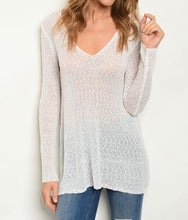 Load image into Gallery viewer, Long sleeve V-neck semi-sheer knit sweater top.