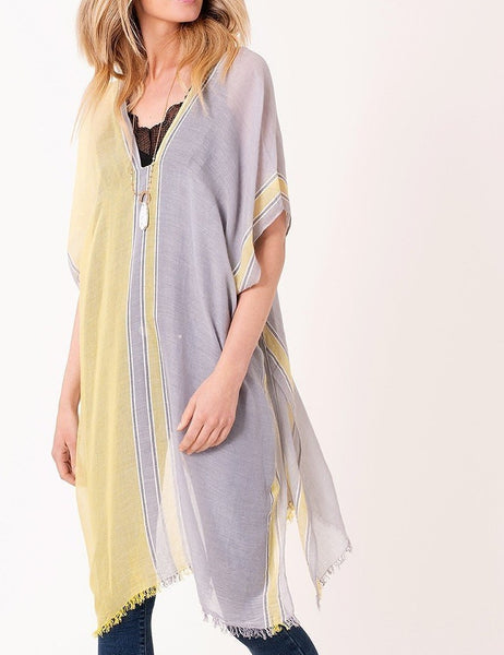 Dual color bordered accent kaftan/tunic/cover ups