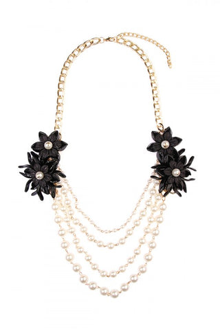 Floral Black Accent Necklace
