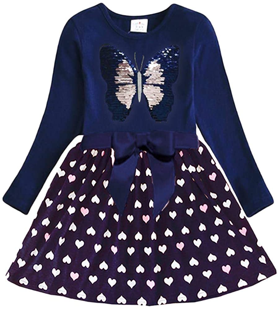 Baby Girl Cartoon Flower Cotton Dress Long Sleeve Dresses for 2-8 Years Little Girls