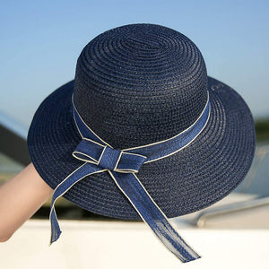 Bow Women Sun Protection Straw Hat, Wide Brim Beach