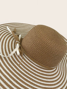 Bow Knot Striped Pattern Straw Hat