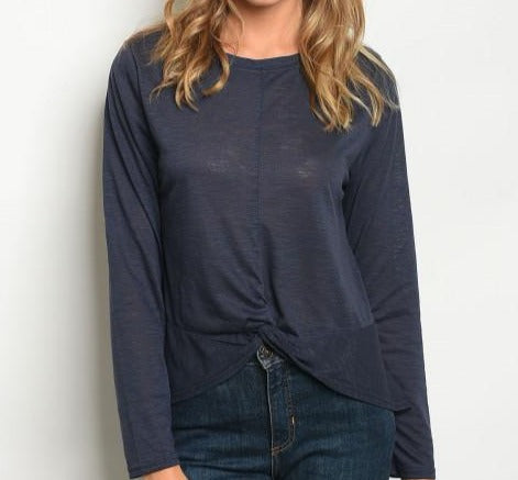 Long Sleeve Navy Top