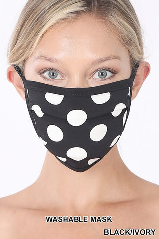 POLKA DOT WASHABLE POLY & COTTON MASK