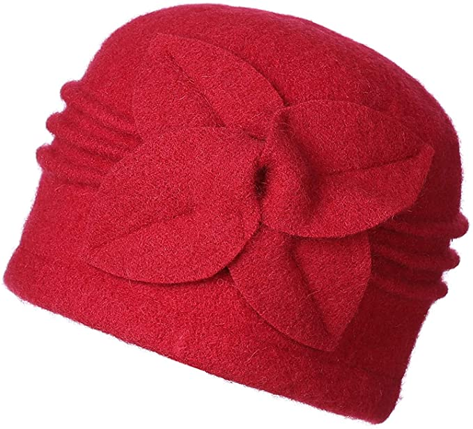 Cloche Wool Hat Red Women Fashion Hat Wool Flower Hat