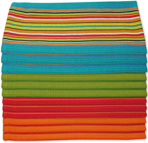 Kitchen Dish Towels Salsa Stripe - 100% Natural Absorbent Cotton (Size 28 x 16 inches) 3 pk
