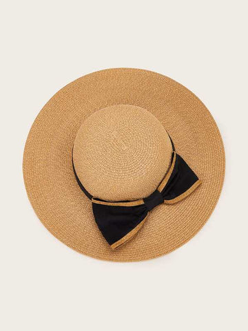 Bow Tie Decor Floppy Straw Hat