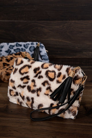Leopard print faux fur with detachable wristlet pouch bag