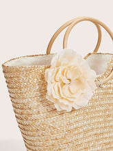 Load image into Gallery viewer, Floral Applique Decor Woven Tote Bag