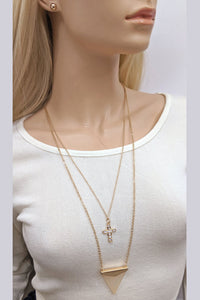 Necklace and Earrings Jewelry Set Gold Cross and Arrow Pendant