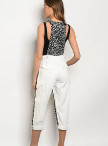 One of a kind-- GRAY WHITE LEOPARD PRINT OVERALL