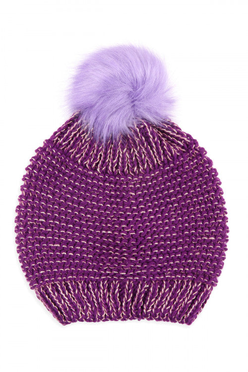 PURPLE KNITTED POM BEANIE