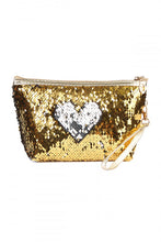 Load image into Gallery viewer, Gold Sequin Cosmetic Bag