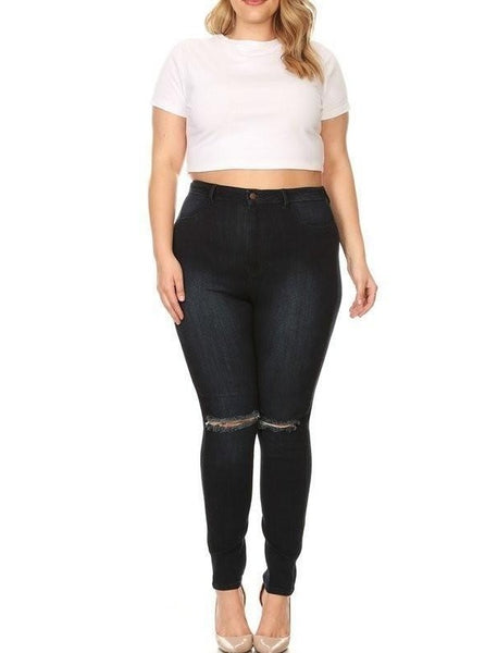 High Rise Super Soft Rayon Skinny Jeans w/ Knee Cut