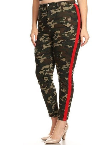 High Rise Skinny Jeans w/ Red Highlight Out seam Camo