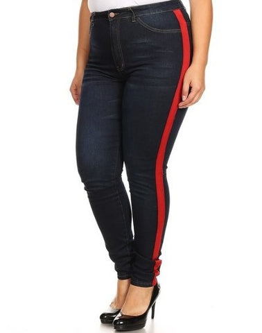 High Rise Skinny Jeans w/ Red Highlight Out seam & Square