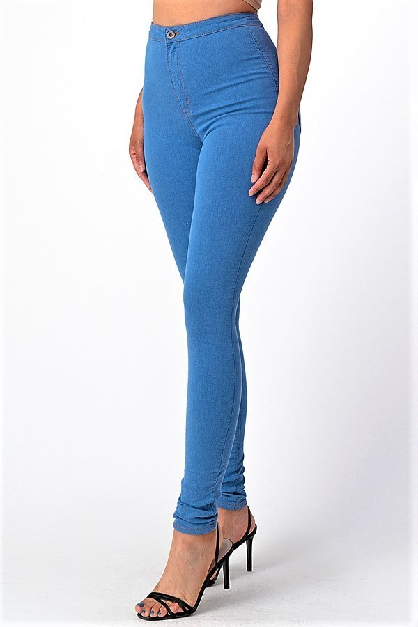 High Rise Square Back Pocket Clean Skinny Jeans